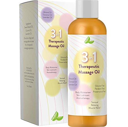 Aromatherapy Massage Oil for Massage Therapy- Therapeutic Sensual Massage Oil for Men and Women with Antioxidant Almond Lavender and Coconut Oils Plus Moisturizing Body Oil for Dry Skin Care