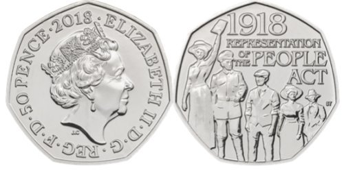 2018 100th Anniversary of the Representation of the People Act BU 50p Coin - The Royal Mint Card