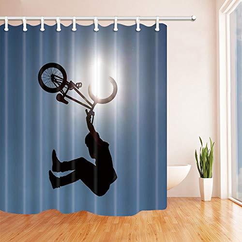 NJMRZX Sporter Decor - Cortina de ducha de poliéster para hombre y bicicleta con ganchos, 71 x 71 pulgadas, color azul y negro