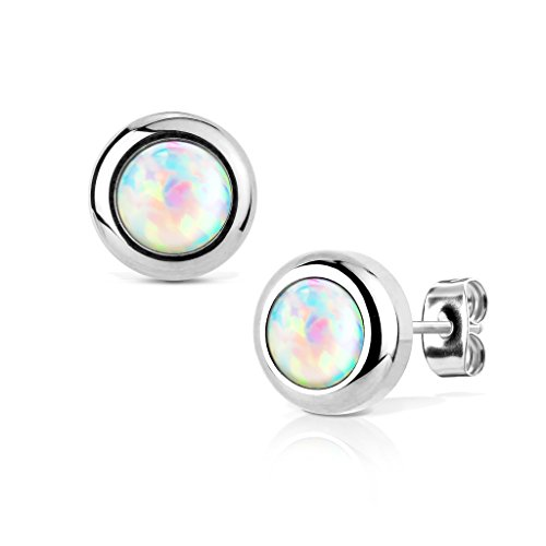 KULTPIERCING - Ohrringe Opal 1 Paar Ohrstecker Silber 316 L Chirurgenstahl/Edelstahl Damen Schmuck Ohr-Schmuck - Weiß