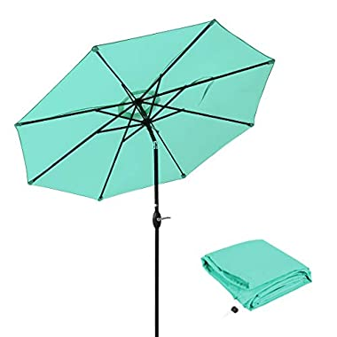 Patio Umbrella 9 Ft Aluminum Outdoor Table Market Umbrellas With Push Button Tilt and Crank, Safety Bolt,8 Ribs (Turquoise)