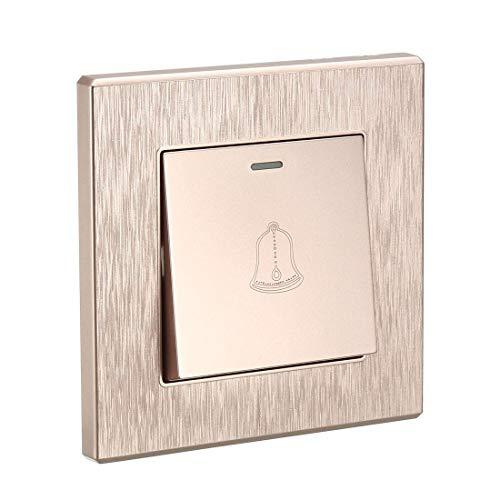 DyniLao Interruptor de botón para timbre montado en la pared reiniciable cuadrado Champagne Gold AC 250V 16A