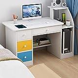 Desktop Home Computer Desk, Modern Simple Office Writing Study PC Laptop Table Multipurpose Workstation with Drawer & Shelves for Bedroom, Living Room, Study Room (US Direct, White)