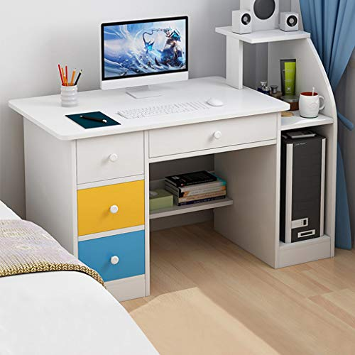 Desktop Home Computer Desk, Modern Simple Office Writing Study PC Laptop Table Multipurpose Workstation with Drawer & Shelves for Bedroom, Living Room, Study Room (US Direct, White)