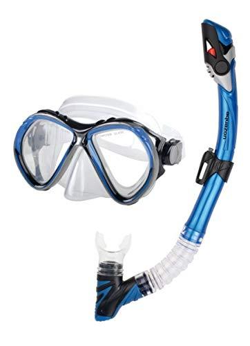 AQUAZON BARCELONA Equipo de esnórquel de alta calidad, equipo de buceo, equipo de natación, gafas de esnórquel con cristal templado, esnórquel con parte superior semi seca para niños, Para Adultos, color:blau