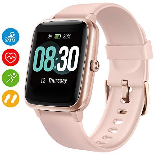 UMIDIGI Smartwatch Uwatch3 5 ATM Fitness Tracker Armbanduhr Sportuhr Smart Watch für Damen Herren Kinder mit Herzfrequenz Schlaftracker Kompatibel mit Android und IOS Xiaomi Samsung Huawei (Rosa)