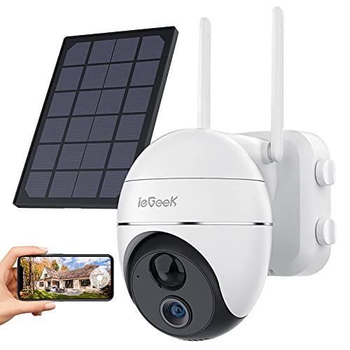 ieGeek Caméra Surveillance WiFi Extérieure sans Fil avec Solaire, IP Caméra Batterie 15000mAh avec Pan/Tilt 1080P, Détection de Mouvement PIR, Étanche IP65, Audio Bidirectionnel, Micro SD/Stockage