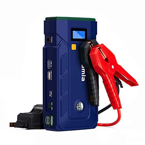 Rumia Avviatore Emergenza per Auto, Macchina (Adatto a Tutti i Veicoli a Benzina/8L Diesel), La bussola, Torcia a LED, Pinza Intelligente con Display LCD