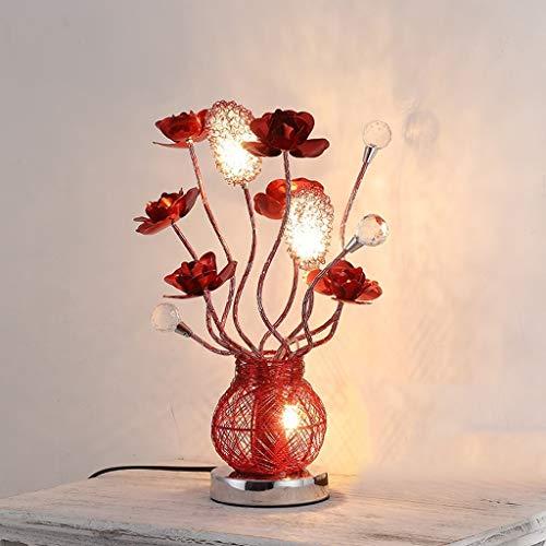 Lámpara De Mesa De Cristal, Fuente De Luz De La Lámpara G4 De Rose, Forja De Alambre De Aluminio, Iluminación Artística Decorativa De Moda (Rojo)