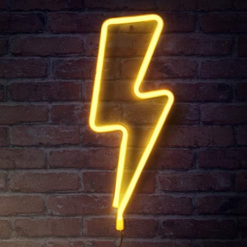 Criacr Neon Nachtlicht, LED Lightning Sign Neonlicht Dekor Licht, Wand-Dekor für Weihnachten, Batterie oder USB betrieben Licht Dekoration für Zuhause, Kinderzimmer, Bar, Party (Warmweiß)