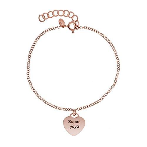 Córdoba Jewels | Pulsera en Plata de Ley 925 bañada en Oro Rosa. Diseño Super Yaya