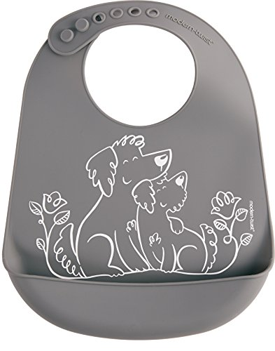 Modern Twist Bucket-Bib 100% Food-Grade Silicone, Waterproof and Reusable, Puppy Love – Fuzzy Gray