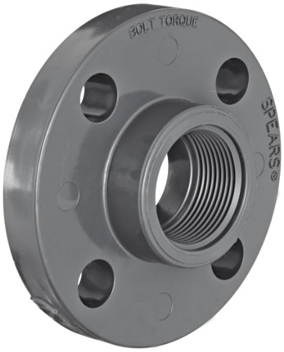Spears 852 Series PVC Pipe Fitting, One Piece Flange, Class 150, Schedule 80, 1' NPT Female