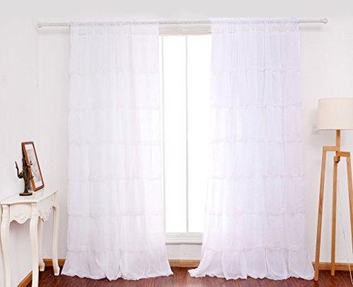 GWELL Supersanft Weiß Volant Gardine Transparent Voile Vorhang Schal TOP QUALITÄT für Wohnzimmer Schlafzimmer 225x140cm