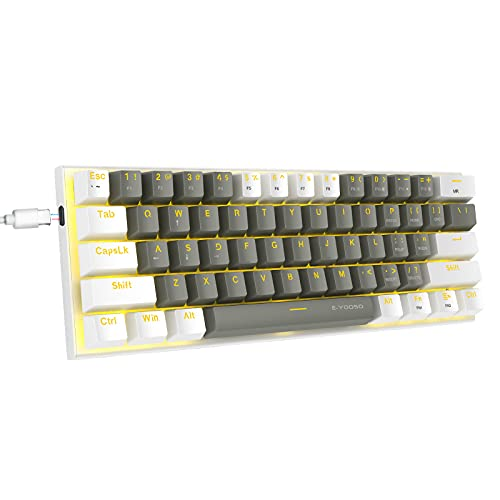 60% Mechanical Keyboard, E-YOOSO Gaming Keyboard with Red Switches and Solid Color Backlit Small Compact Keyboard 60 Percent Keyboard Mechanical, Portable 60 Percent Gaming Keyboard Gamer(Grey White)