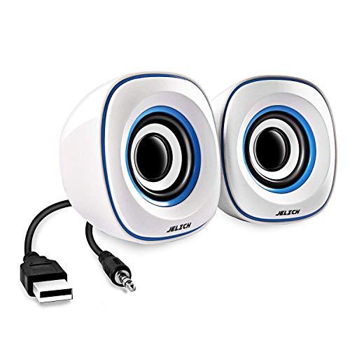 JELICH Mini USB Computer Speakers - Wired USB Powered Multimedia Small Speakers with Light Music Needs for PC/Desktop/Laptops/Smart Phone