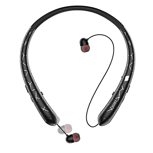 Bluetooth Headphones, ECOSI Wireless Neckband Headset w/Retractable Earbuds, Stereo Earphones w/Noise Canceling Mic for Conferences, Work Out, Travel, Compatible with Android iPhone iPad (Black)
