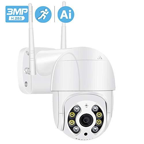 XIAOSHEN IP-Kamera WiFi im Freien mit Audio, drahtlose Überwachungskamera im Freien WiFi-Kamera, 1080P HD 4X Zoom PTZ-Netzwerkkamera WiFi im Freien AI Erkennungsalarm 3MP 3MPCamera128GCard
