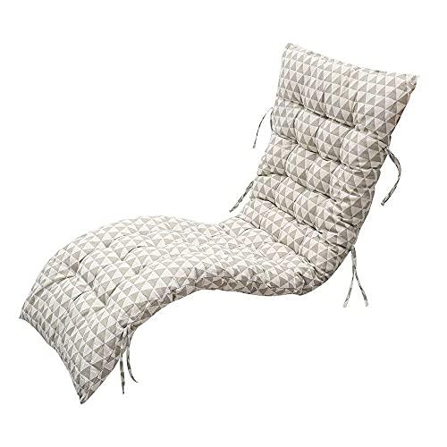 YUNQY Cojín antideslizante para tumbona con lazo de fijación, cojín acolchado para jardín, patio, relajante, cojín de asiento reclinable de algodón duradero al aire libre