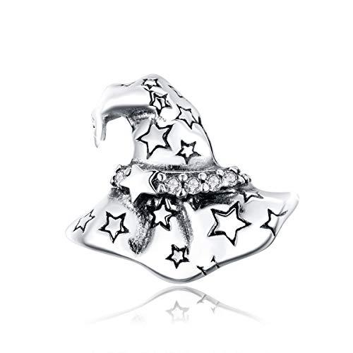 Colgante de bruja mágica de plata de ley para Halloween, compatible con pulseras Pandora
