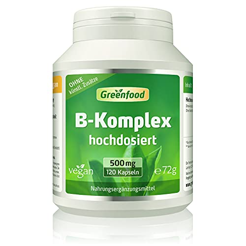 B-Komplex 50, hochdosiert, 120 Kapseln - alle Vitamine der B-Gruppe. Für einen klaren Kopf (B5), mehr Energie (B12) und schöne Haut und Haare (B7). OHNE künstliche Zusätze. Ohne Gentechnik. Vegan.