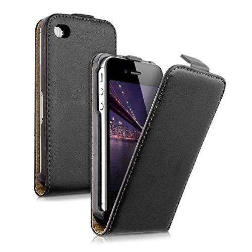 kwmobile Schutzhülle kompatibel mit Apple iPhone 4 / 4S - Hülle Handy - Flip Hülle Handyhülle Schwarz
