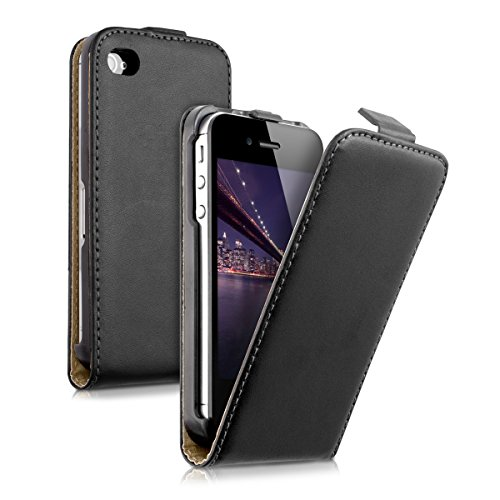 kwmobile Funda Compatible con Apple iPhone 4 / 4S - Carcasa para móvil de Cuero sintético - Case en Negro