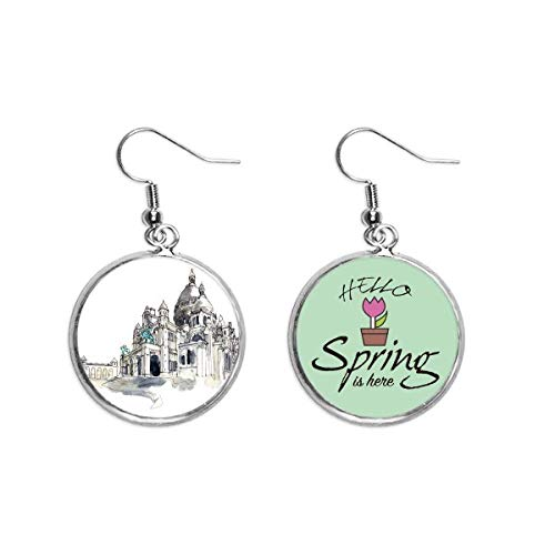 Sacre-Coeur in Paris France Decoration Dangle Season Spring Earring Jewelry