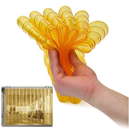 Wärmeschutzvorhang Vorhangleiste Aus Kunststoff Transparent 0,082 Zoll Dick Gerippt Temperaturbeständigkeit -5 ℃ Bis 50 ℃ Freihändiges Gehen Mit Lagertür Lsxiao (Color : Yellow, Size : 0.75x2.1m)