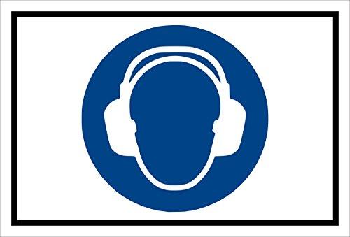Stickers schild - Bodstekens - Gehoorbescherming gebruiken - komt overeen met DIN ISO 7010/ASR A1.3 - S00361-005-A +++ in 20 varianten verkrijgbaar