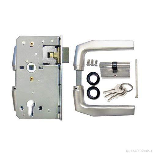 Schlosseinsatz SET Schließzylinder mit 3 Schlüsseln + Drückergarnitur für Garten-Tor Einfahrtstor