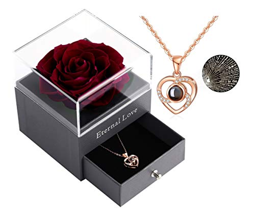 Real Preserved Rose - Eternal Rose Gift Box with Rose Necklace, Handmade Fresh Rose Gift for Her on Birthday,Christmas,Mother's Day,Valentine's Day (Wine Red)