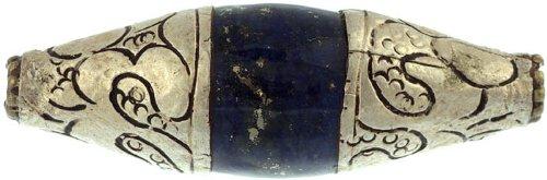 Lapis Lazuli Mridangam with Silver Caps (Price Per Piece) - Sterling Silver