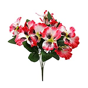Silk Flower Arrangements Narutosak-1Pc Artificial Flower Pansy, Home Office Garden DIY Stage Party Home Wedding Craft Decoration, Window Table Ornament - Pink