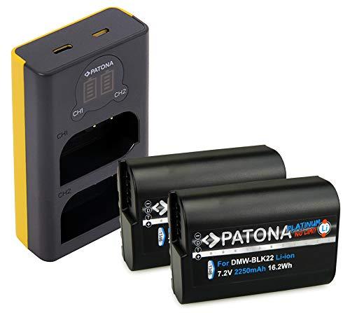 PATONA 2X Platinum Batería DMW-BLK22 con Cargador Doble LCD USB Compatible con Panasonic DC-S5 G9 GH5 GH5S