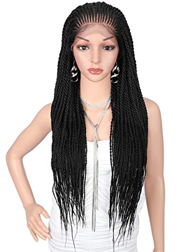 """Kalyss 13x5"""" Hand Braided Swiss Lace Front Twisted Cornrow Braided Wigs with Baby Hair Lace Frontal Black Braids Synthetic Wigs for Black Women"""