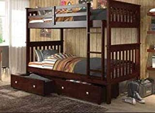 Donco Kids 120-1-TTCP_TT_505-CP Mission Bunk Dual Under Bed Drawers, Twin/Twin, Dark Cappuccino