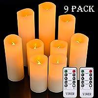 ELENCO PACCHETTO - 9 candela Flameless senza fiamma (Diametro: Φ 2.2 inx H4''5''6''7''8''9''), 2 telecomando, 1 manuale di istruzioni. Le batterie non sono incluse. SICUREZZA E NESSUN RISCHIO DI INCENDIO - La candela può essere usata in camere, salon...