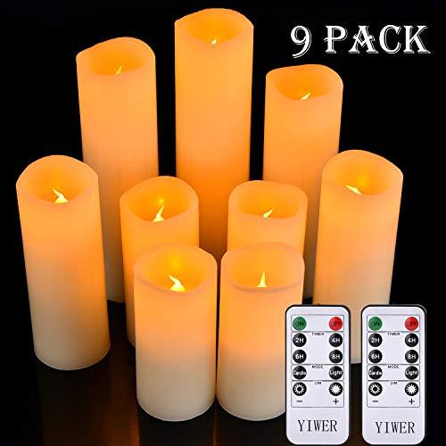 YIWER LED Kerzen Set von 9 Flammenlose Kerzen Batteriebetriebene Kerzen D5.5cmxH 14/15/16/17.5/20/22cm Echtwachssäule Kerzen Flackern mit Fernbedienung und Timer-Steuerung, Elfenbein Farbe(9x1)