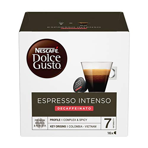 Nescafé Dolce Gusto Espresso Intenso Decaffeinato, Entkoffeiniert, Espressokapsel, Kaffeekapsel, 16 Kapseln