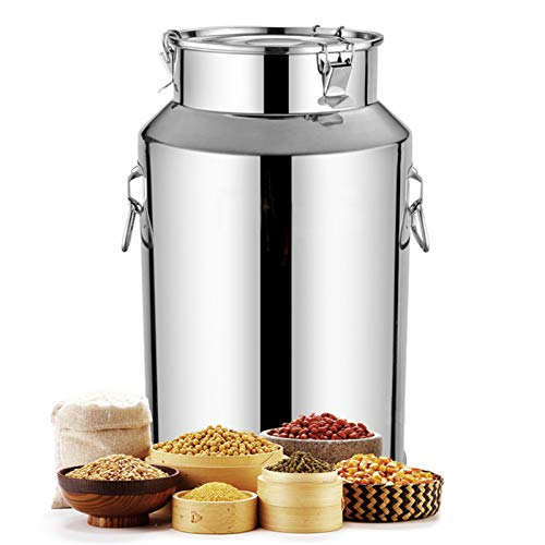 Airtight Milk Can Bucket 201 Stainless Steel Thicken Milk Transport Barrels Wine Pail Dairy Pot Tote Jug Tea Canister Silicone Seal Lid for Liquid Storage(Silver),58L