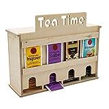 INEXTERIOR Teebeutelspender aus Holz - 4 Teesorten - zum Stellen oder Wandmontage - Schriftzug: Tea...