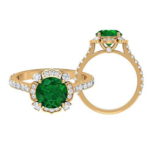 Anillo floral antiguo, anillo solitario de oro, 2,77 quilates, piedras preciosas redondas, D-VSSI Moissanite 8 mm creado en laboratorio, anillo de esmeralda lateral, 18K Oro amarillo, Size:EU 51