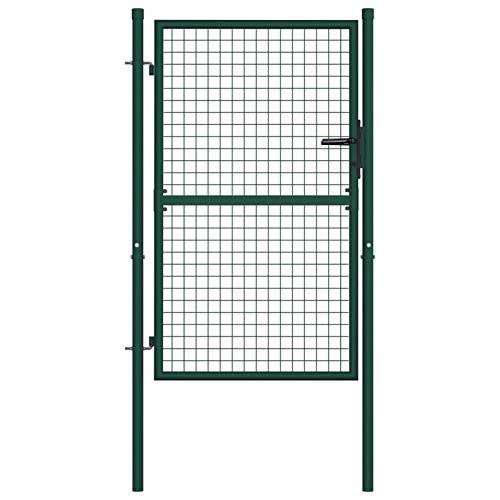 Lasamot Puerta de Valla de Acero Verde para Cercar Verja de Pared Puerta para Valla Robusta y Duradera para Jardín 100x125 cm