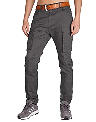 ITALY MORN Men's Chino Cargo Khaki Casual Pants 40 Dark Grey