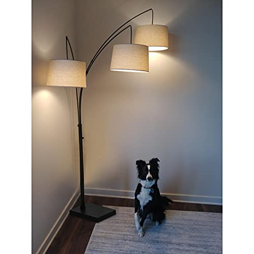 Hykolity Black Trinity Arc Floor Lamp with Heavy Base, 3 Lights Hanging Over The Couch from Behind,...