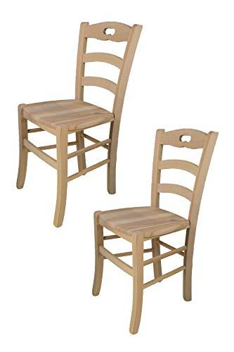 Tommychairs - Set 2 sillas Savoie para Cocina y Comedor, Estructura en Madera de Haya lijada, no tratada, 100% Natural y Asiento en Madera
