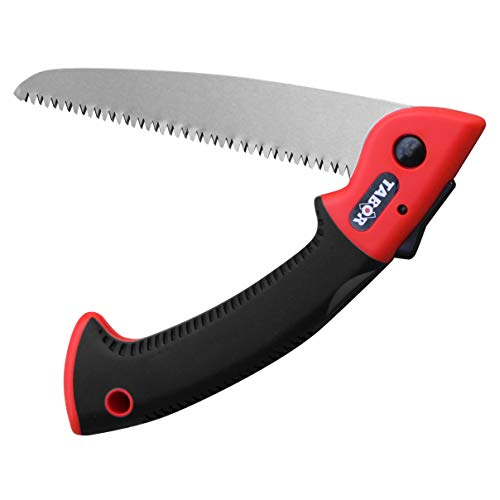 TABOR TOOLS Folding Saw with 8 Inch Straight Blade and Solid Grip Handle, Hand Saw for Pruning Trees, Trimming Branches, Camping, Clearing Forest Trails. T6. (Straight Blade 8 Inch)