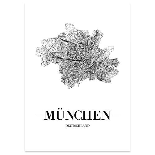 JUNIWORDS Stadtposter, München, Wähle eine Größe, 21 x 30 cm, Poster, Schrift A, Weiß