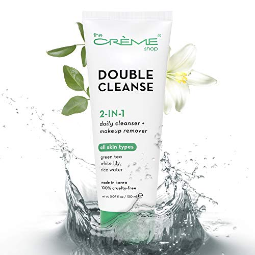 The Crème Shop Korean Skincare | Green Tea Double Face Wash, Brightening, Acne Treatment, Redness, Cleansing Pore - Oily, Dry, Sensitive Skin | Organic & Natural Makeup remover, Facial cleanser